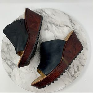 BOC by Born wedge mules 10 leather black/brown